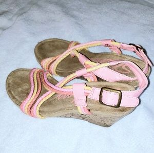 Pink Yellow Cord Sandal Wedges